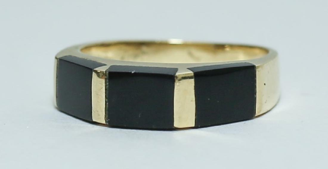 Art Deco 14K Gold & Black Onyx Ladies Band Ring