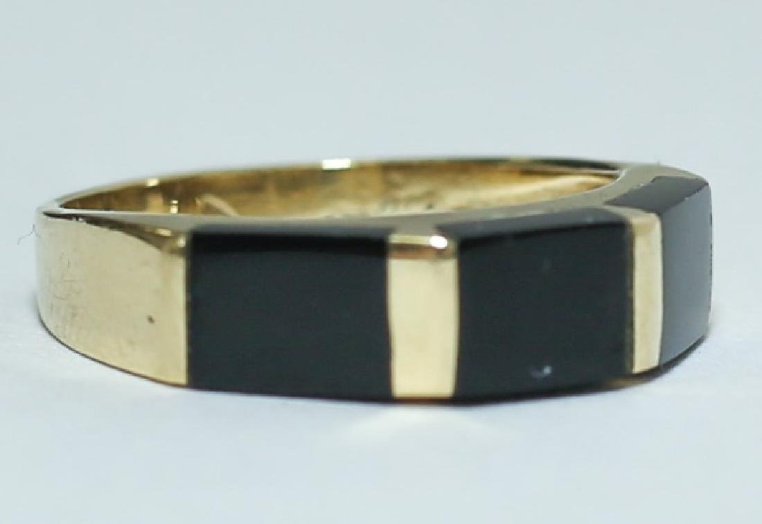 Art Deco 14K Gold & Black Onyx Ladies Band Ring - 2