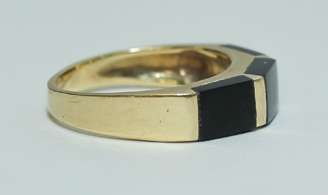 Art Deco 14K Gold & Black Onyx Ladies Band Ring - 3