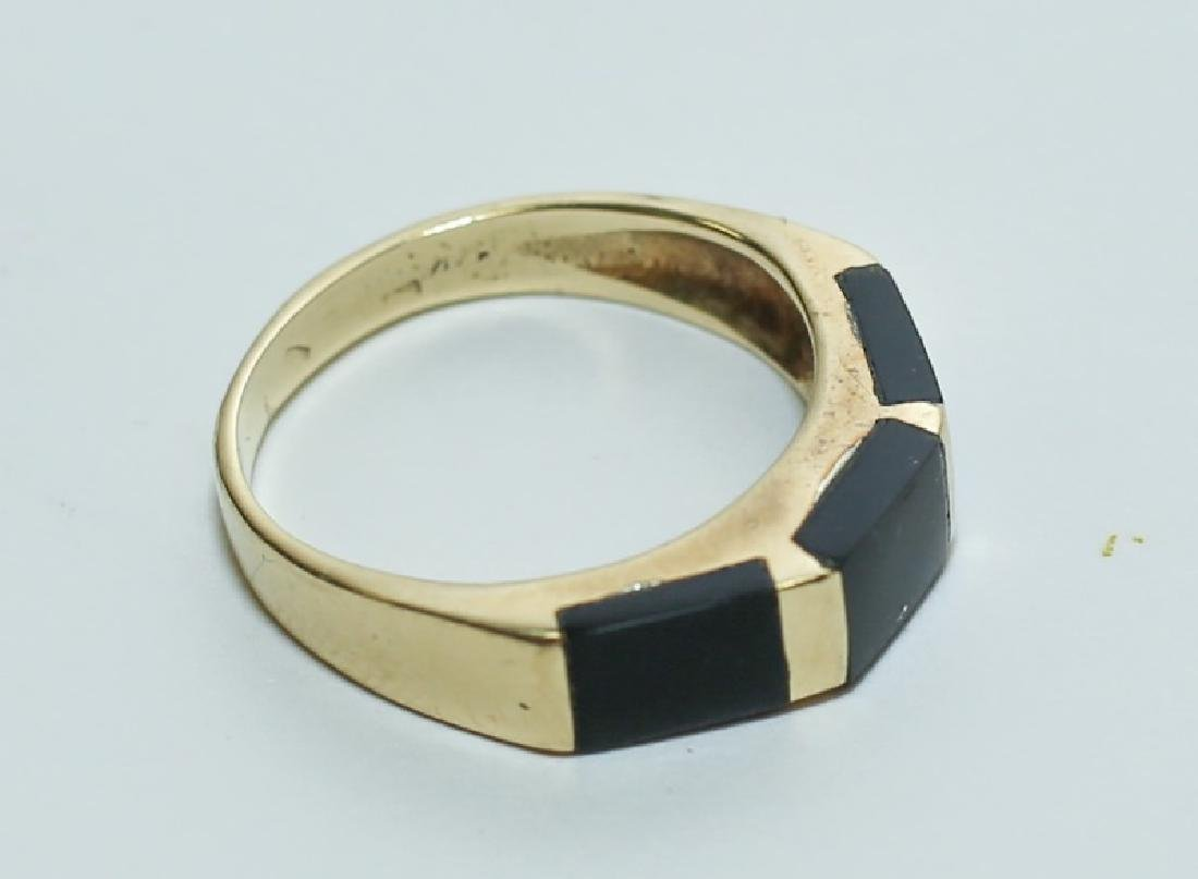 Art Deco 14K Gold & Black Onyx Ladies Band Ring - 4