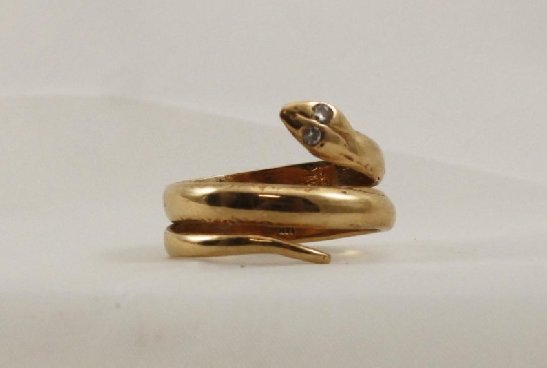 14k Yellow Gold Snake Ring w Diamond Eyes