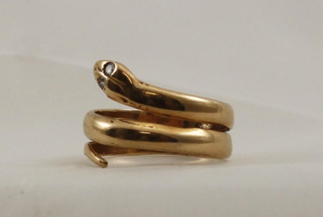 14k Yellow Gold Snake Ring w Diamond Eyes - 2