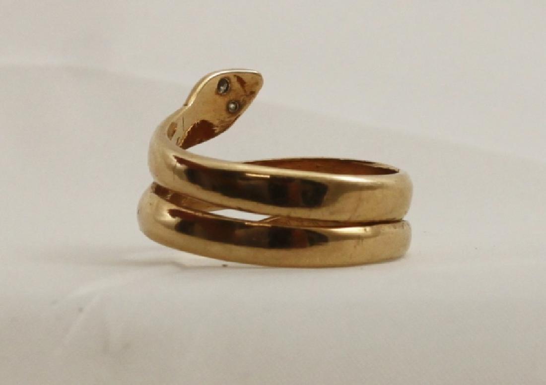 14k Yellow Gold Snake Ring w Diamond Eyes - 3