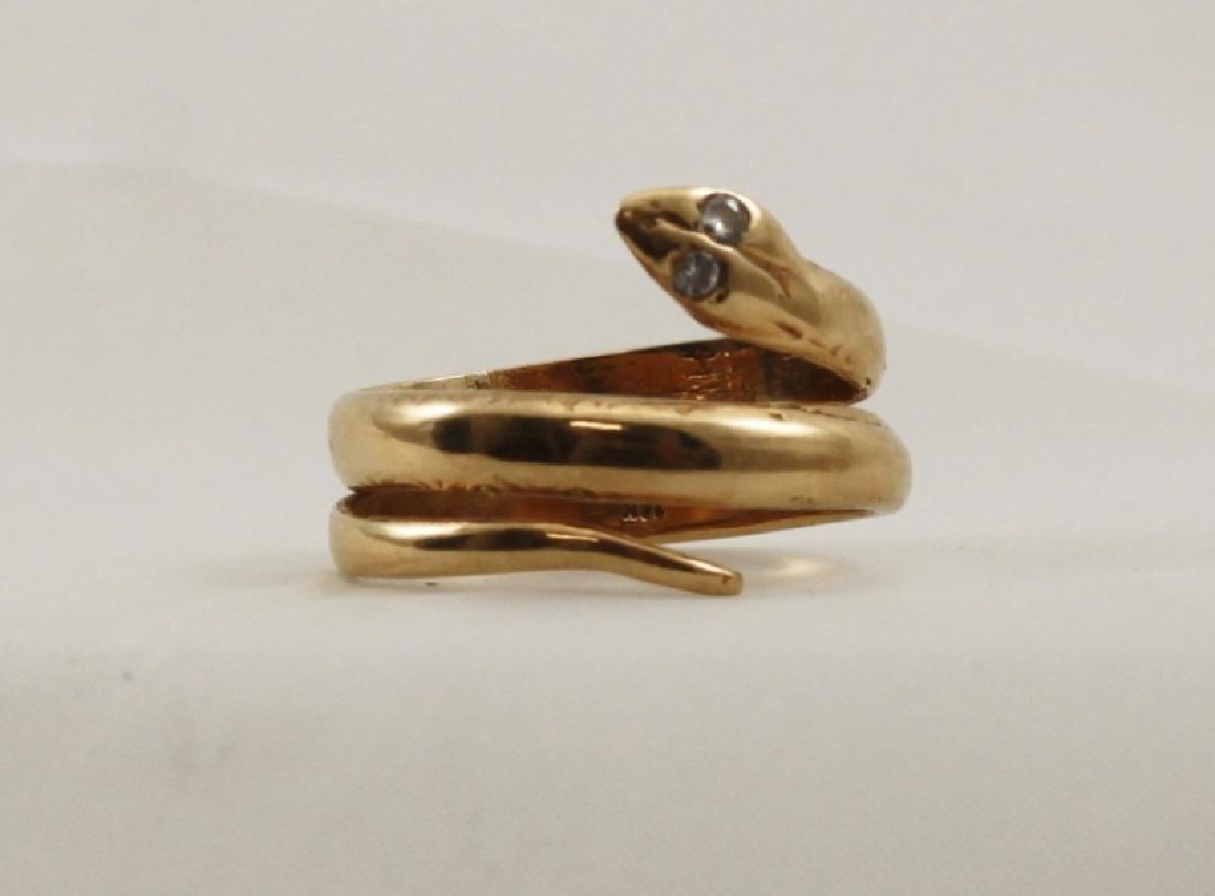 14k Yellow Gold Snake Ring w Diamond Eyes - 4
