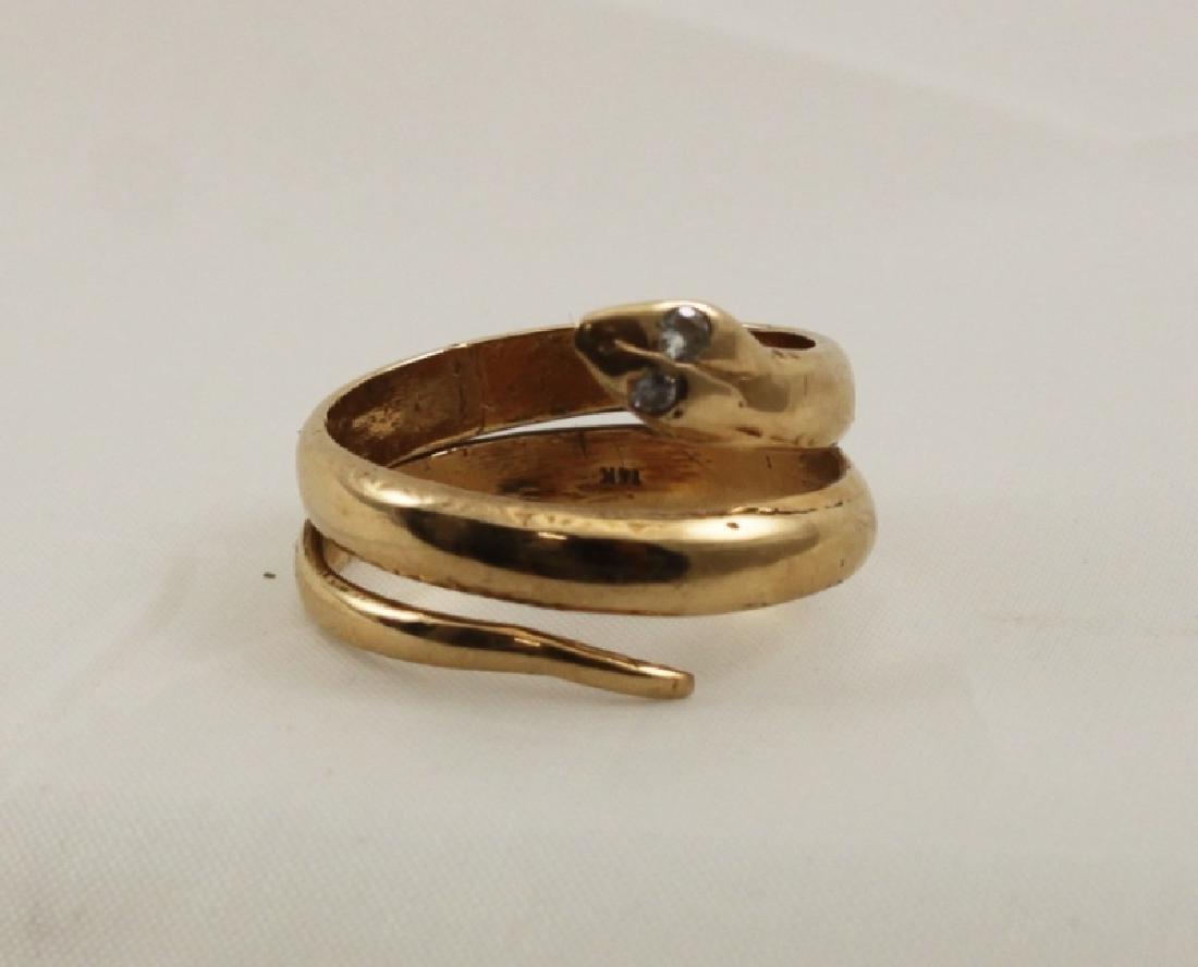 14k Yellow Gold Snake Ring w Diamond Eyes - 5