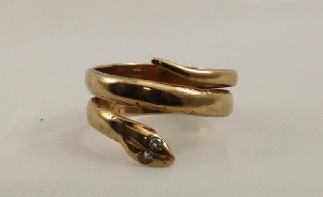 14k Yellow Gold Snake Ring w Diamond Eyes - 6