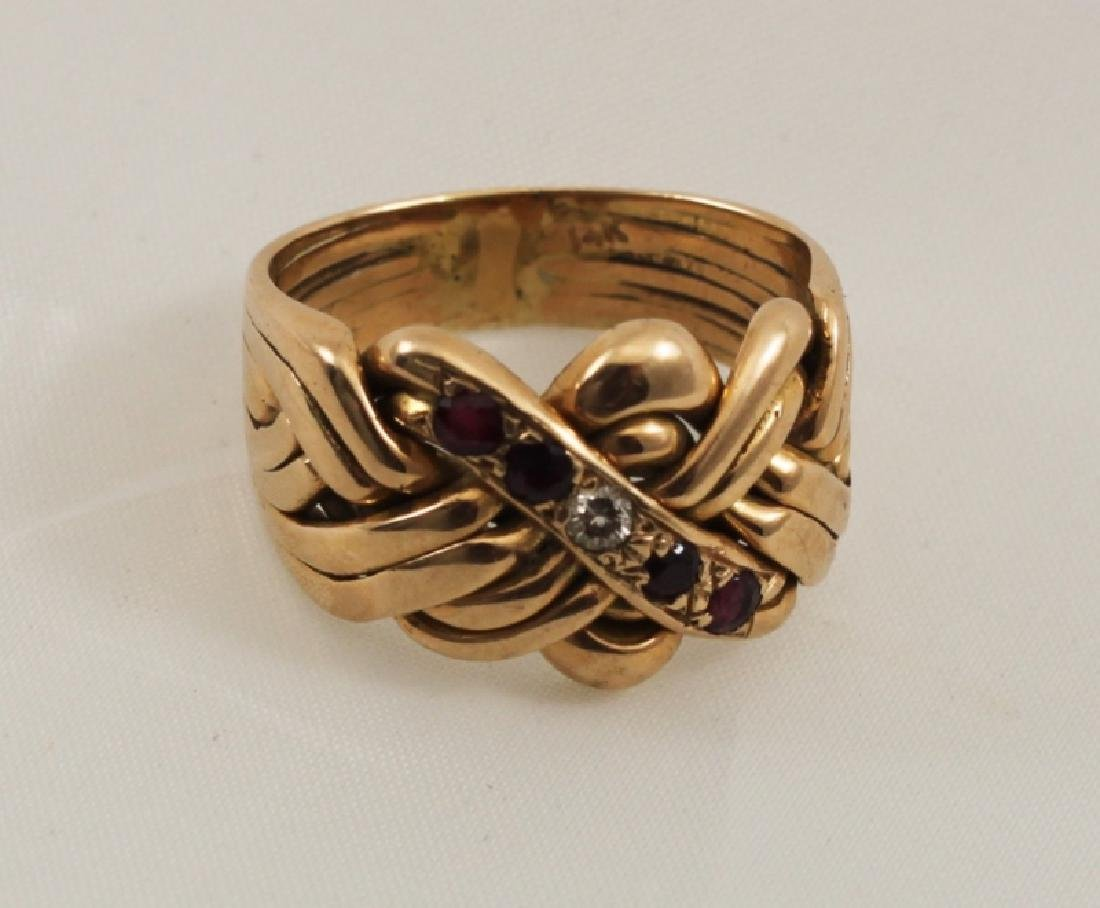 14k Men's Gold Puzzle Ring w Rubies and Diamond - 2