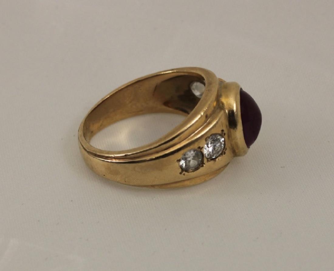 14k Men's Gold Ring w Cabochon Ruby & (4) Diamonds