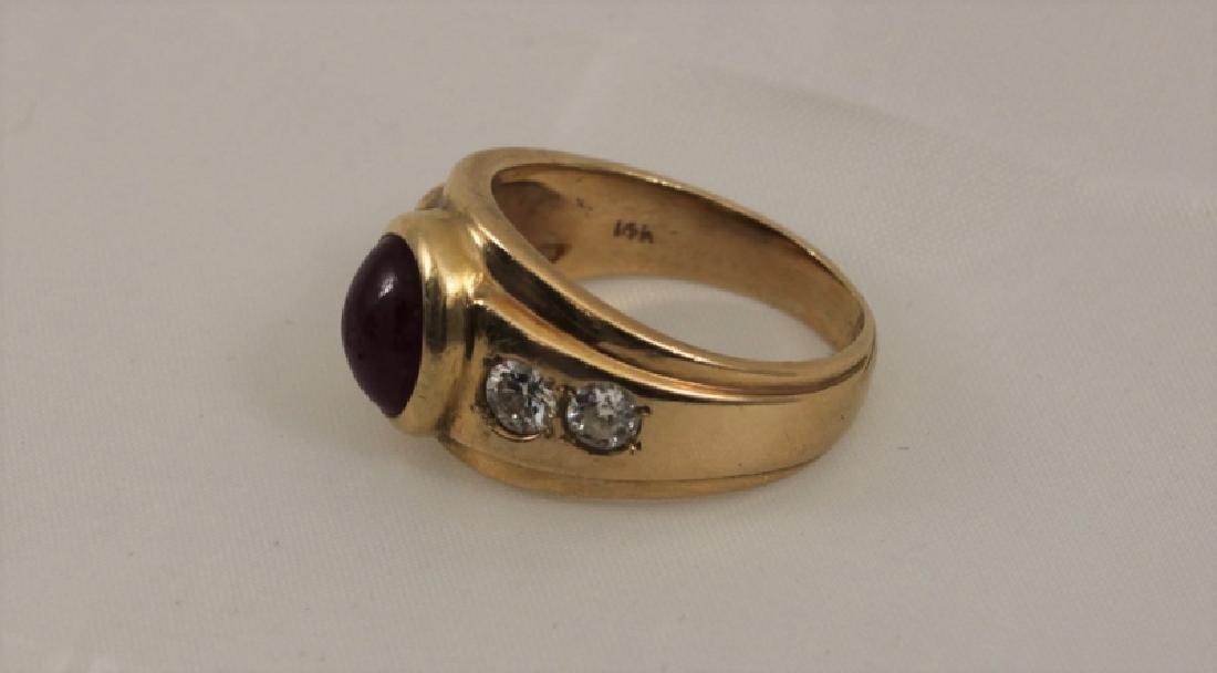 14k Men's Gold Ring w Cabochon Ruby & (4) Diamonds - 2