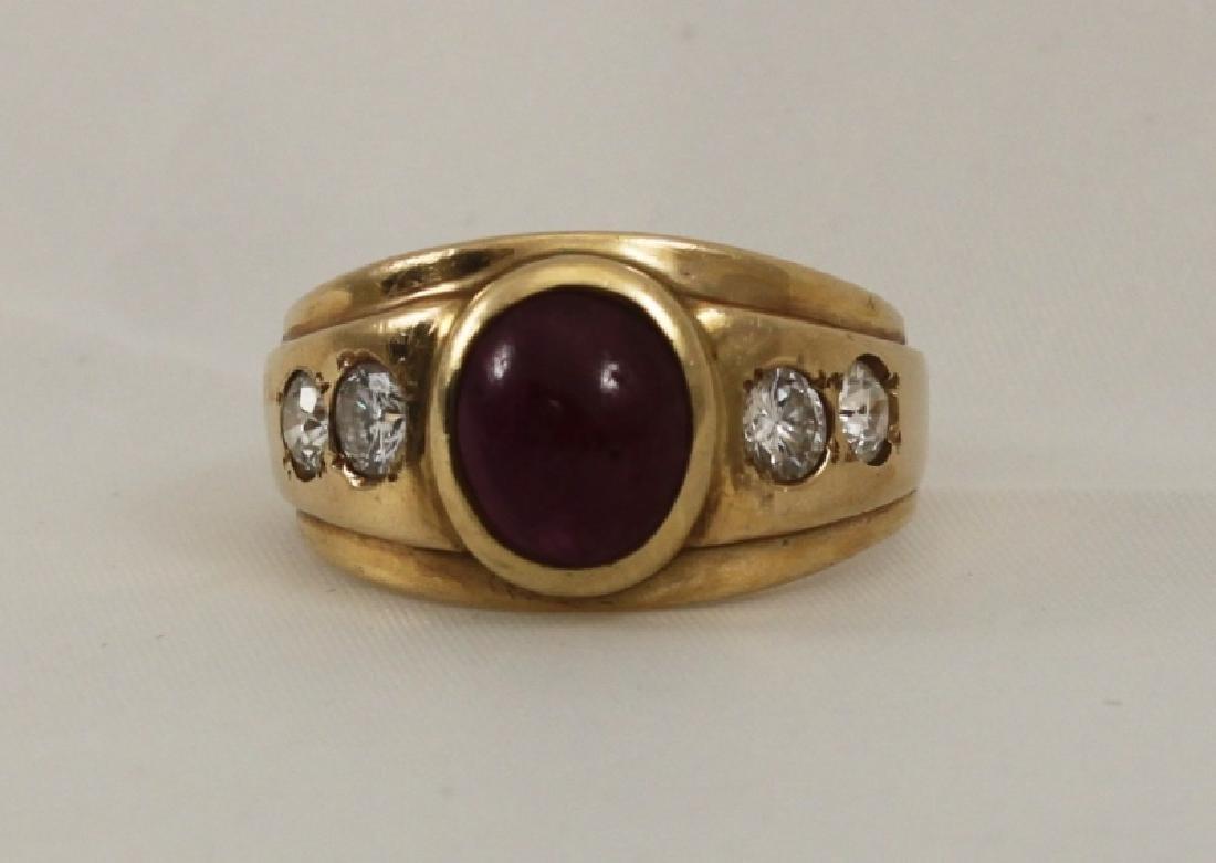 14k Men's Gold Ring w Cabochon Ruby & (4) Diamonds - 3