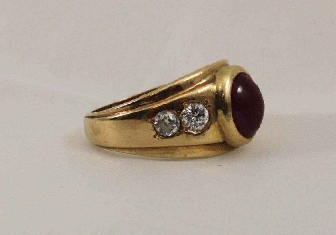 14k Men's Gold Ring w Cabochon Ruby & (4) Diamonds - 4