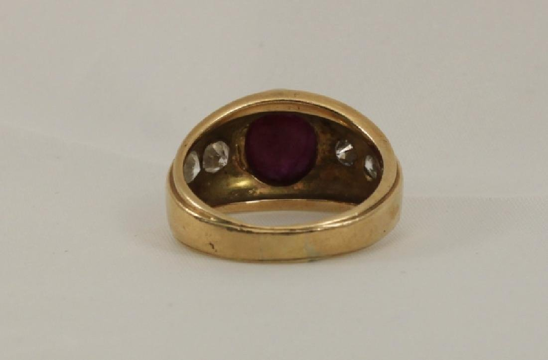 14k Men's Gold Ring w Cabochon Ruby & (4) Diamonds - 5