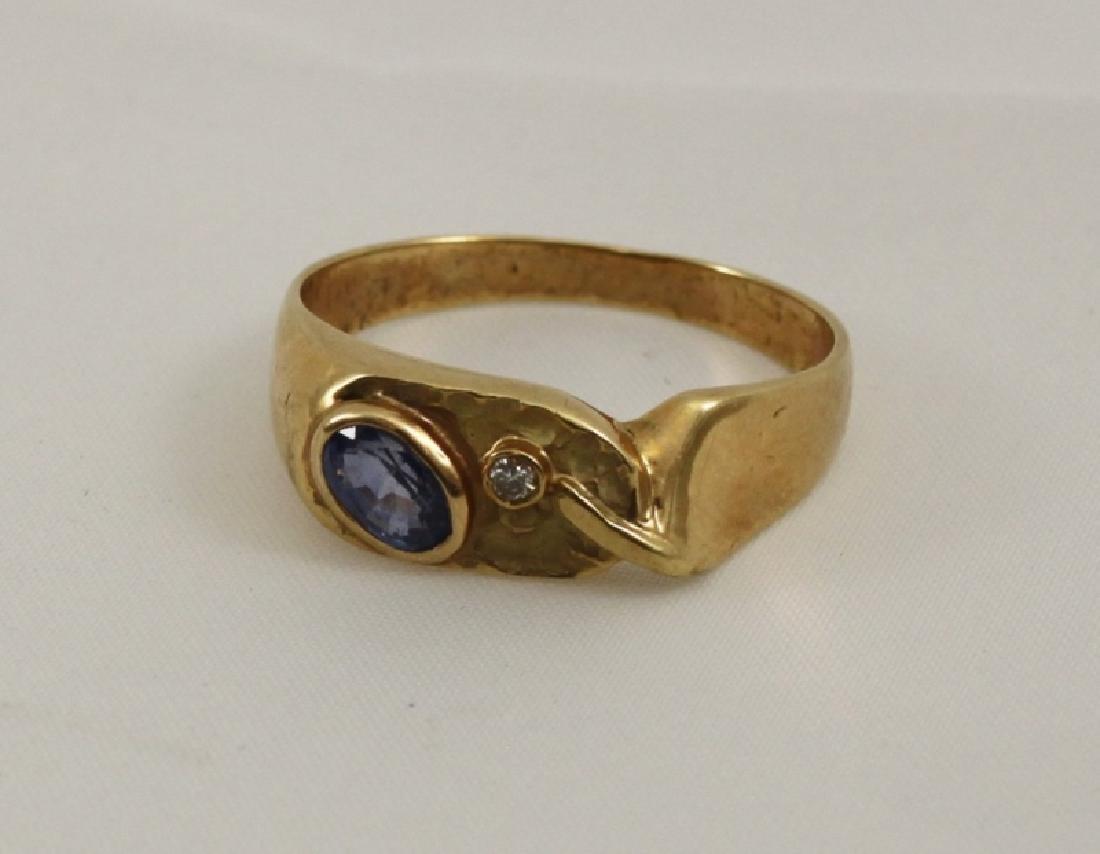 14k Men's Brutalist Gold Ring w Gemstone & Diamond