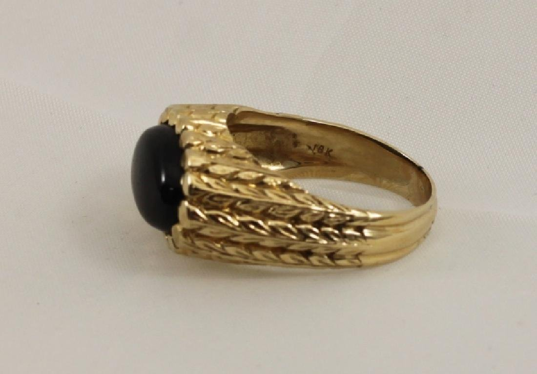 18k Mens Gold Brutalist Ring w Black Star Sapphire