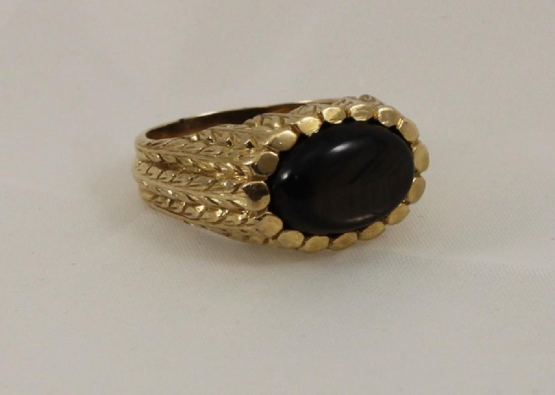 18k Mens Gold Brutalist Ring w Black Star Sapphire - 2
