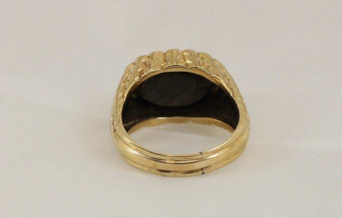18k Mens Gold Brutalist Ring w Black Star Sapphire - 3