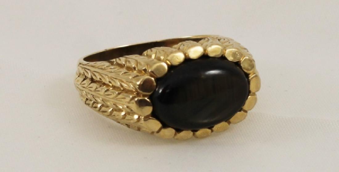18k Mens Gold Brutalist Ring w Black Star Sapphire - 4