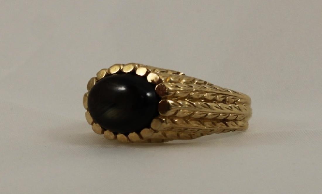18k Mens Gold Brutalist Ring w Black Star Sapphire - 5