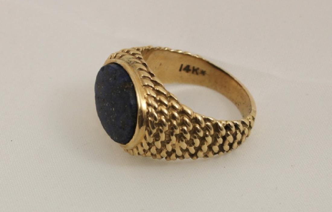 14k Men's Gold Basket Weave Ring w Lapis