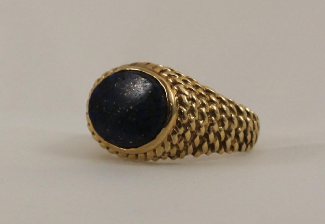 14k Men's Gold Basket Weave Ring w Lapis - 2