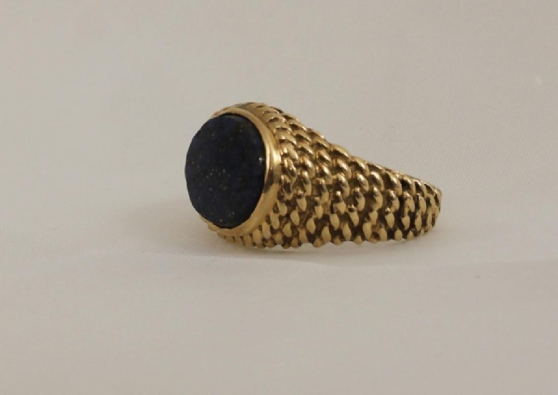 14k Men's Gold Basket Weave Ring w Lapis - 3
