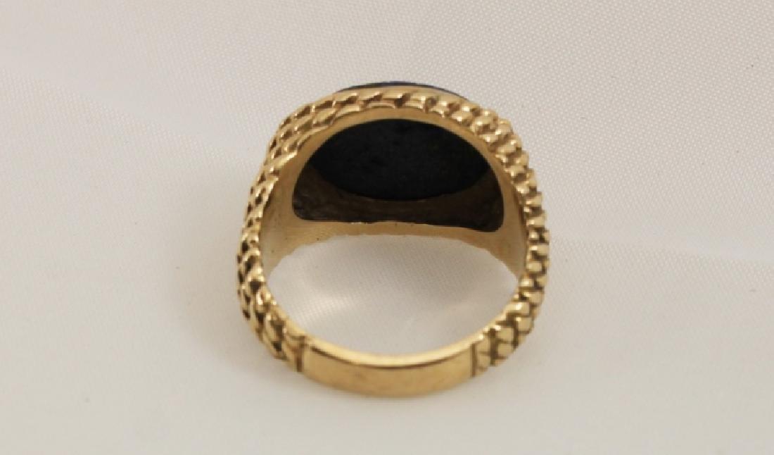 14k Men's Gold Basket Weave Ring w Lapis - 4