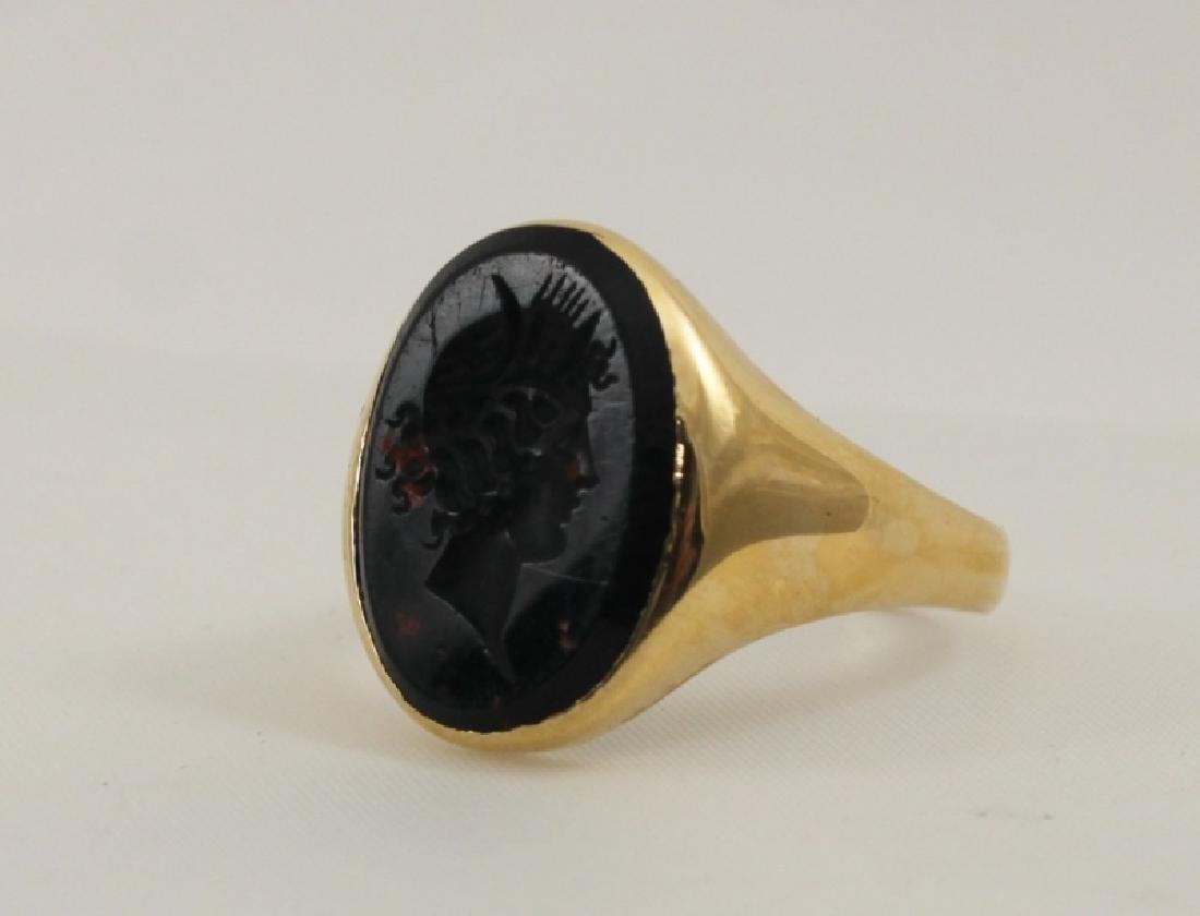 14k Men's Gold Ring w Intaglio Carved Bloodstone - 2