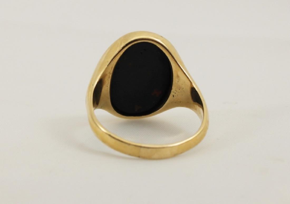 14k Men's Gold Ring w Intaglio Carved Bloodstone - 4