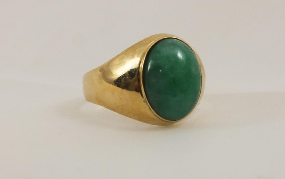 18k Men's Gold Ring w Emerald Green Jade