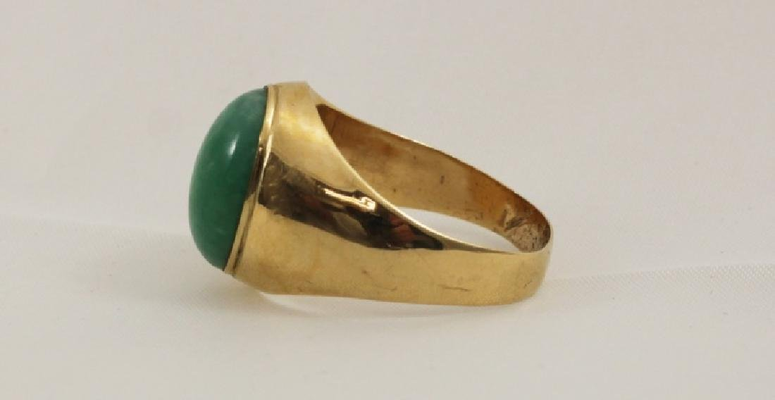 18k Men's Gold Ring w Emerald Green Jade - 2