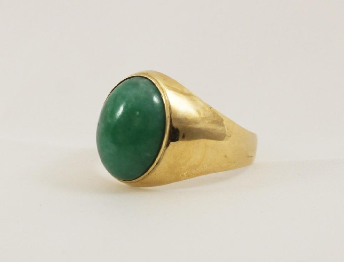 18k Men's Gold Ring w Emerald Green Jade - 3
