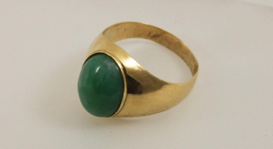18k Men's Gold Ring w Emerald Green Jade - 4