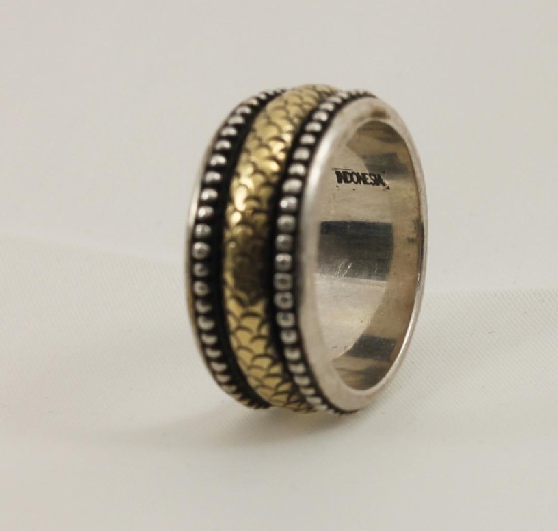 John Hardy Designer 18k Gold & 925 Sterling Ring - 2