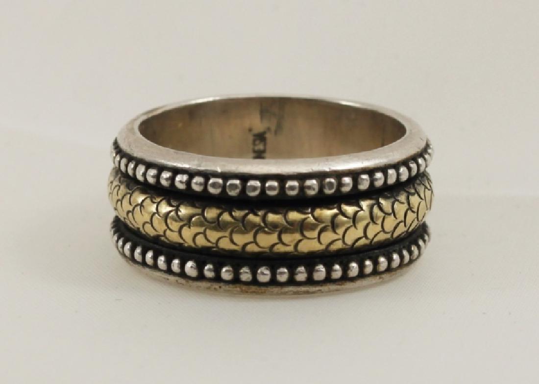 John Hardy Designer 18k Gold & 925 Sterling Ring - 4