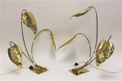 Pair 1960's Tommaso Barbi 3-Leaf Brass Table Lamps