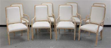 (8) Regency Italian Rope Carved Captain's Chairs