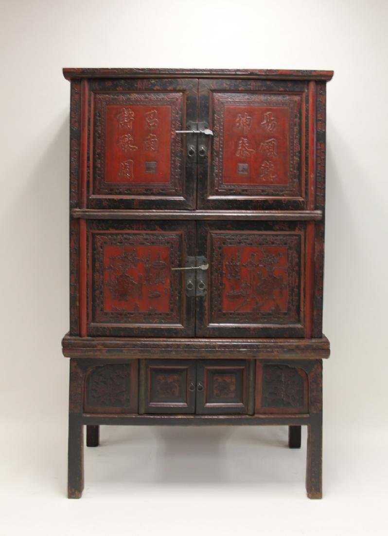 Antique Chinese Carved Wood U0026 Lacquer Cabinet