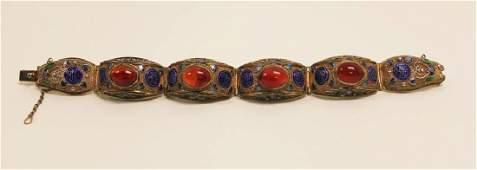 Chinese Export Sterling Enamel Carnelian Bracelet