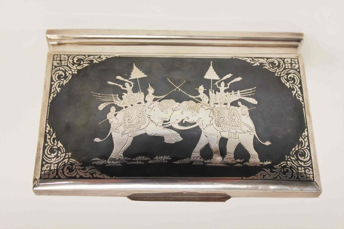 Vintage Sterling Silver Cigarette Box w Elephants