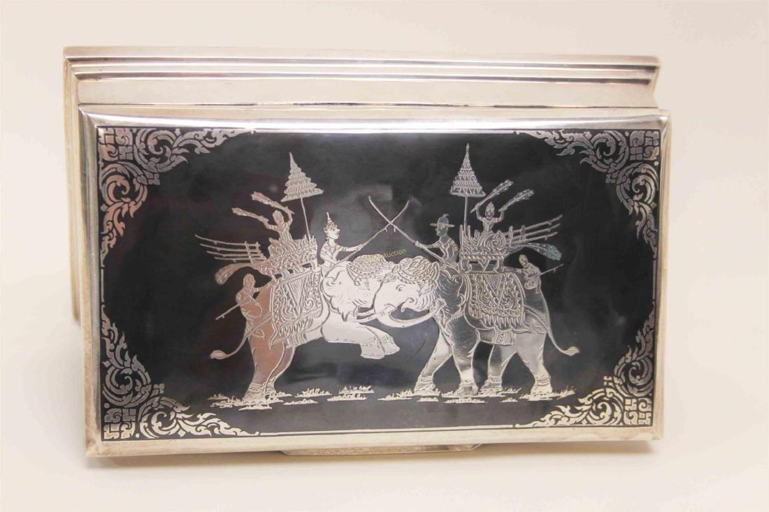 Vintage Sterling Silver Cigarette Box w Elephants - 2
