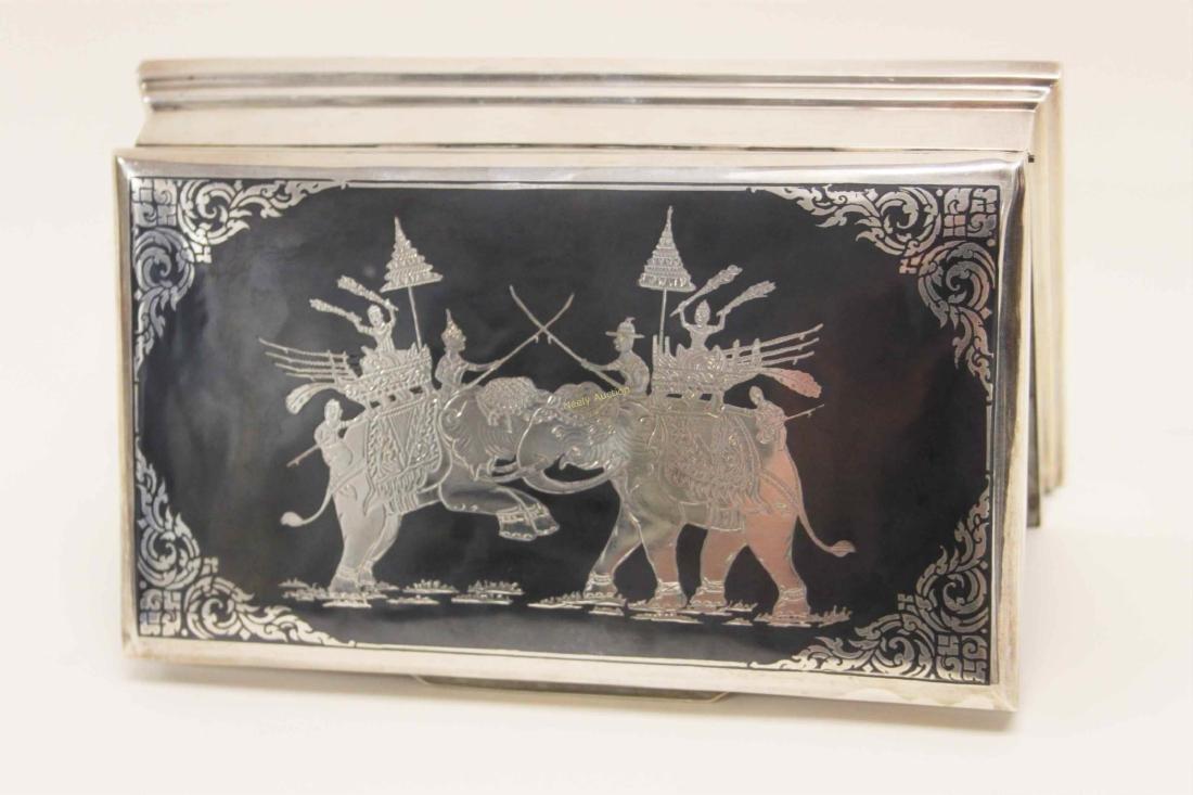 Vintage Sterling Silver Cigarette Box w Elephants - 4