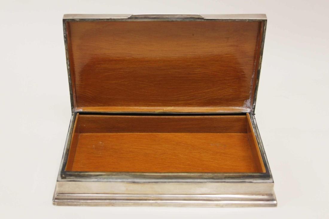 Vintage Sterling Silver Cigarette Box w Elephants - 8