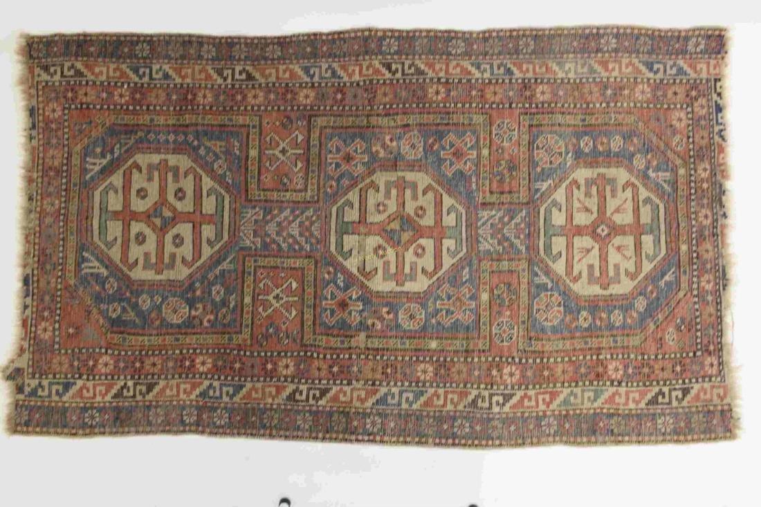 Antique Caucasian Kazak Wool on Wool Rug - 2