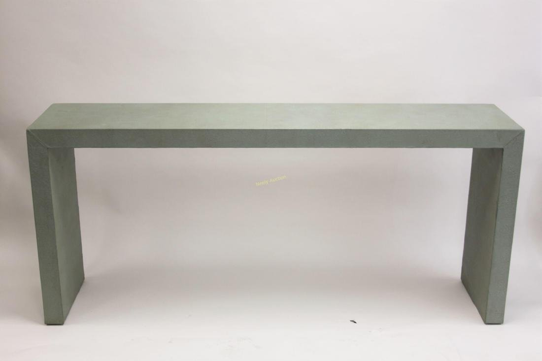 Large MCM Shagreen Leather Finished Console Table