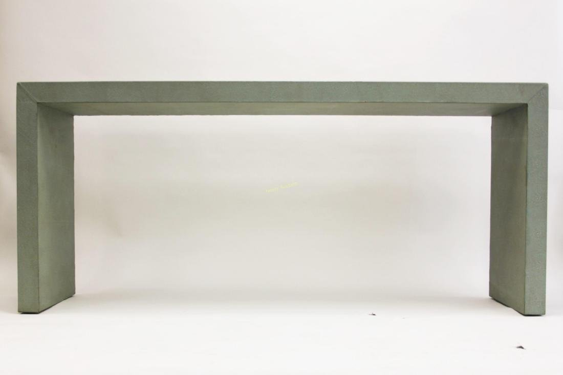 Large MCM Shagreen Leather Finished Console Table - 2