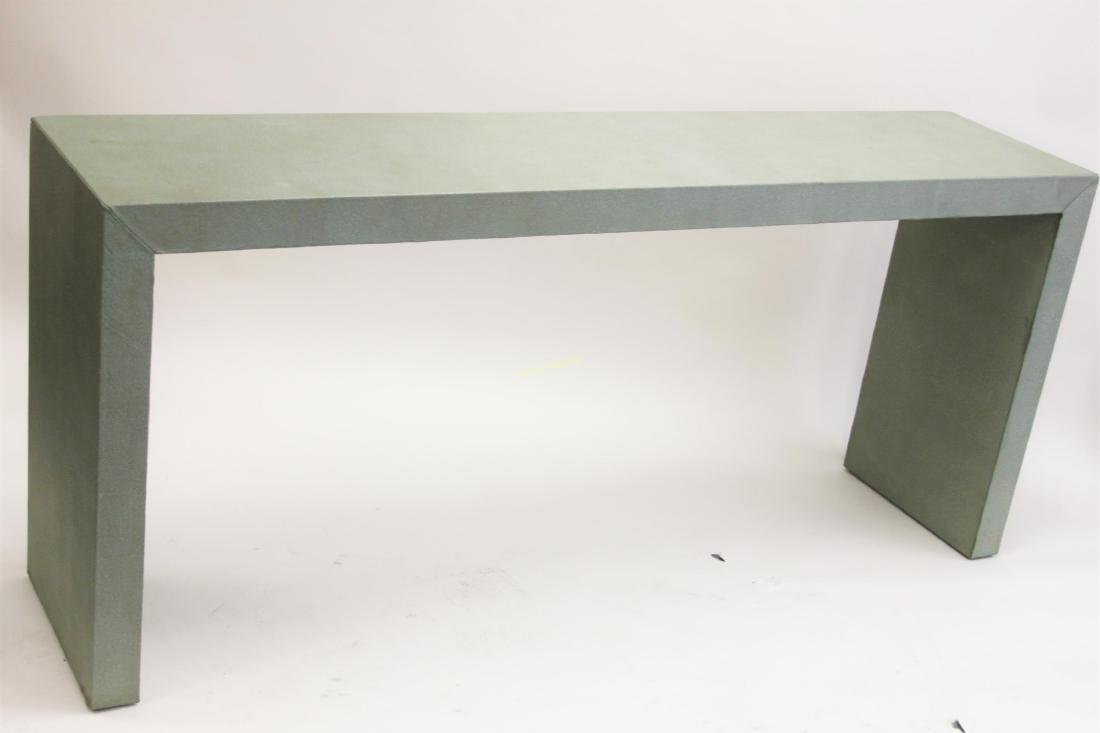 Large MCM Shagreen Leather Finished Console Table - 3