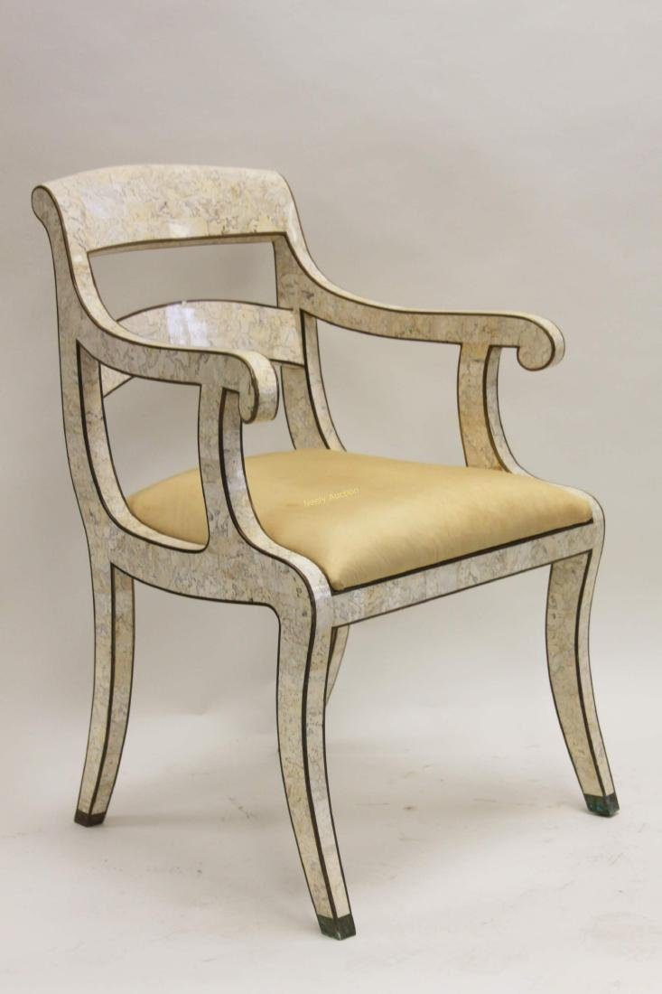 Maitland Smith Regency Marble & Brass Accent Chair