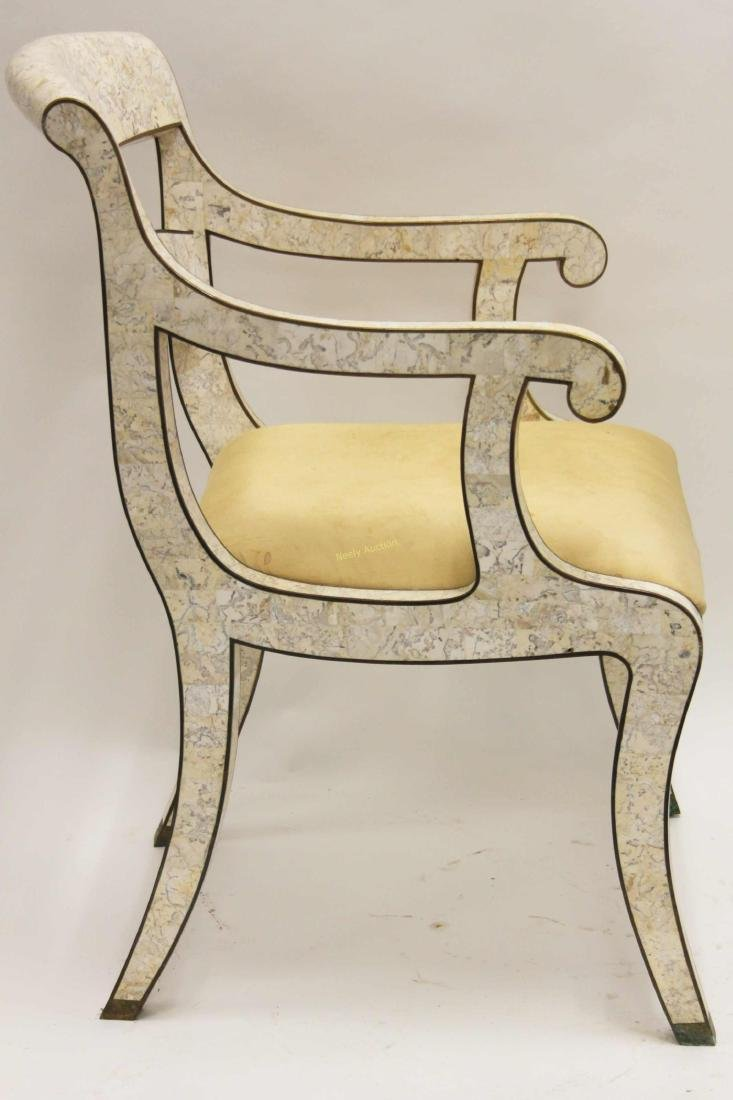 Maitland Smith Regency Marble & Brass Accent Chair - 2