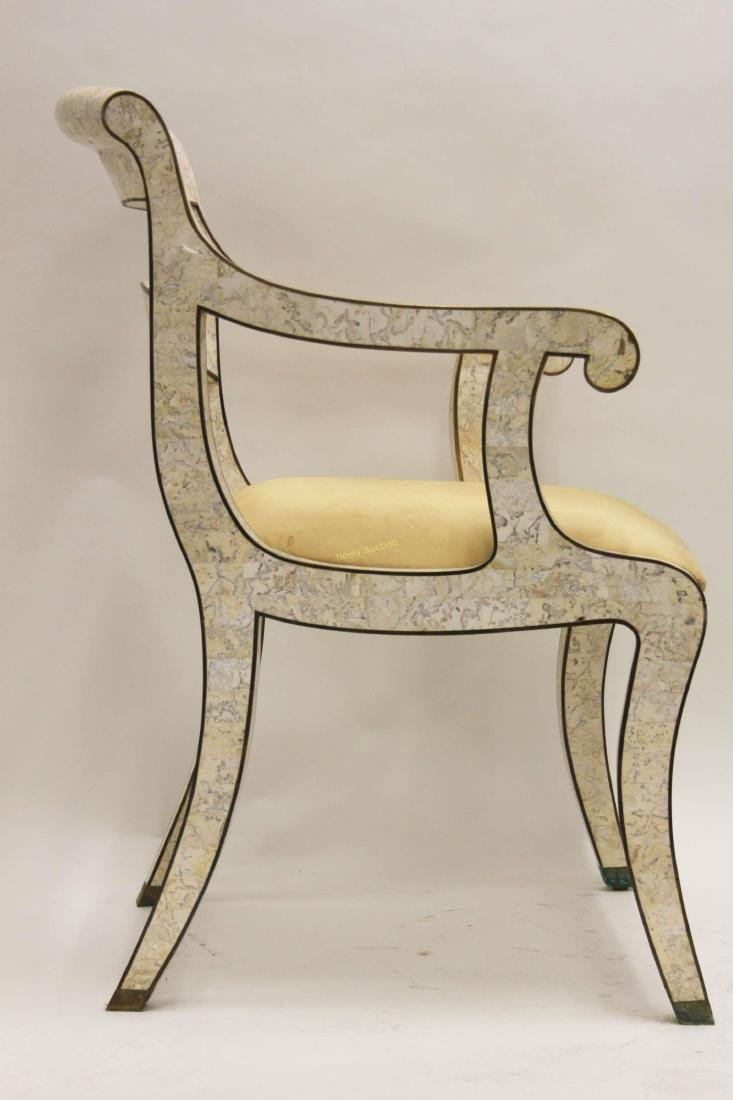 Maitland Smith Regency Marble & Brass Accent Chair - 3