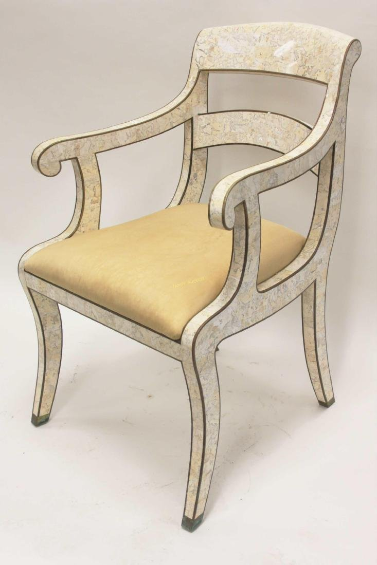 Maitland Smith Regency Marble & Brass Accent Chair - 4